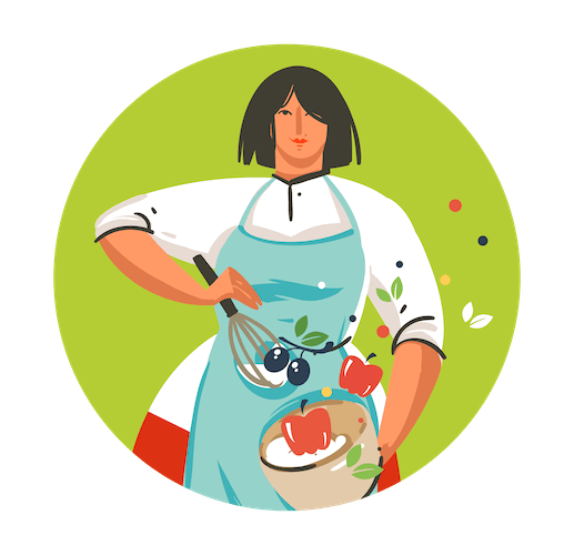 an animated woman stirring a mixing bowl